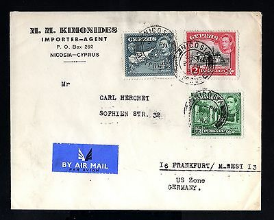 6140-CYPRUS-AIRMAIL COVER NICOSIA to FRANKFUR (germany) 1950.British.Chypre.