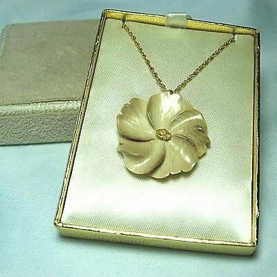 ALASKA JADE Flower Pendant w Test Gold Nugget LOT 19H8 in original box