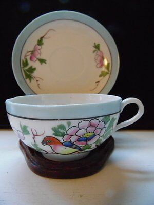 Vintage Hand Painted Takito Company Japan Tea Cup and Saucer Bird and Flowers