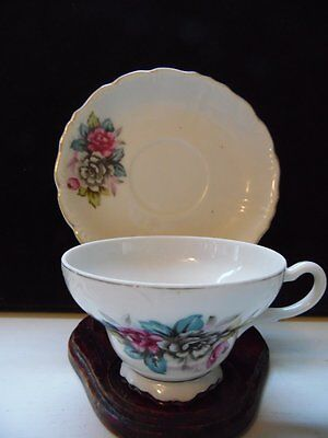 Vintage Japan Floral Footed Tea Cup and Saucer