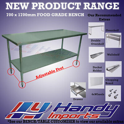 1700 x 700mm STAINLESS STEEL #304 COMMERCIAL FOOD PREP WORK BENCH