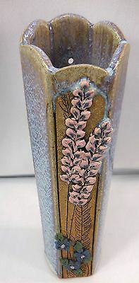 """Roberts Pottery Floral Stoneware Purple Blue 9"""" High Wall Pocket/Standing Vase"""