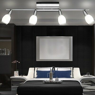 led decken strahler glas spots schwenkbar 4x 5 watt flur leuchte wohn ess zimmer eur 56 60. Black Bedroom Furniture Sets. Home Design Ideas