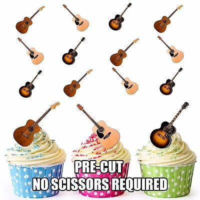 Acoustic Guitar -  Birthday Party 12 Cup Cake Toppers Edible Decorations