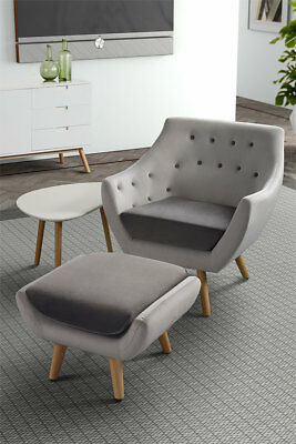 Poet  Retro Set of buttoned Armchair & Stool -