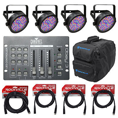 4) Chauvet SLIMPAR56 Slim Par Can 56 LED Lights+Obey 3 DMX Controller+Bag+Cables