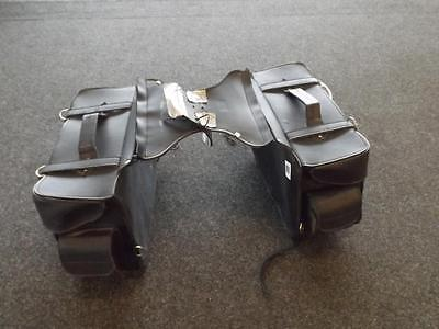 Motorcycle Large Heavy Duty Leather Throw Over Panniers Saddle Bags
