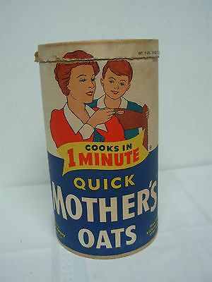 Vintage Quick Mothers Oats Oatmeal Cardboard Container Advertising 9 1/2""