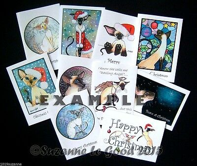 10 Assorted Siamese Cat Painting Christmas Cards By Suzanne Le Good