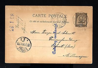 6135-TUNISIA-OLD POSTCARD SFAX to ERFURT (germany) 1898,French Colonies.TUNIS