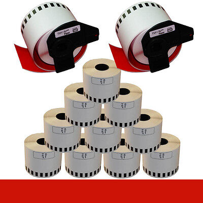 10+2 ROLL RED DK22205 DK 22205 BROTHER COMPATIBLE CONTINUOUS LABELS 62mm x30.48m