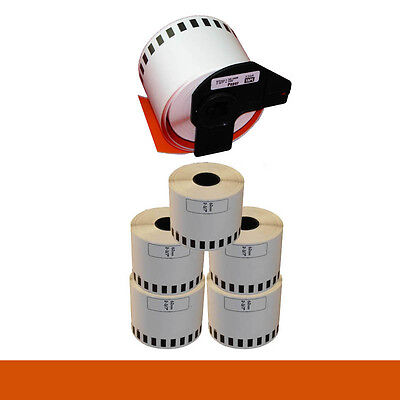 5+1 ROLL ORANGE DK22205 DK 22205 BROTHER COMPATIBLE CONTINUOUS LABEL 62mmx30.48m