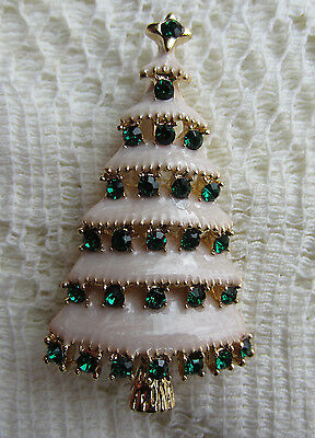 Vintage Style Victorian Christmas Tree Austrian Green Crystal Gold Pl Brooch Pin