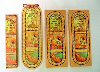 Song of India (Indian Temple) Incense Sticks: Pick 15 25 60 100 or 150 gram