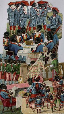 *sale* 12 Victorian Die Cuts African American Groups Old Chromolithographs Ad336