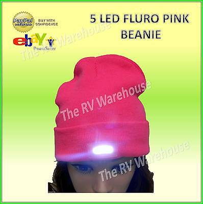 5 LED Beanie Fluro Pink Super Bright New Hunting Fishing Accessories