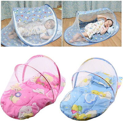 Foldable New Baby Cotton Padded Mattress Pillow Bed Mosquito Net Tent GU