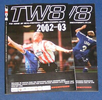 Brentford Home Programmes 2002-2003