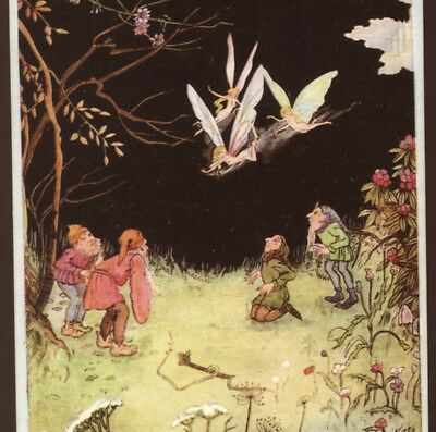 Gnomes, Elves Watch Trio Of Flying Fairies,alice Marshall,tuck Old Postcard
