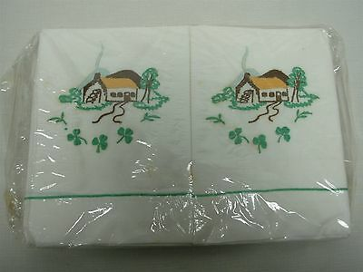 PAIR VTG IRISH LINEN STANDARD PILLOWCASES w EMBROIDERED COTTAGES MINT NOT USED