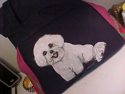 Bichon  Frise  Handpainted  Handbag Must See Both Sides!