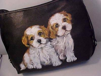 Cavalier King Charles Puppies Handpainted Handbag