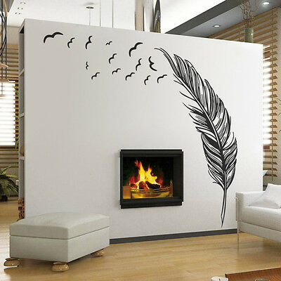 Wall Sticker Vinyl Birds Flying Feather Bedroom Home Decal Mural Art Decor GO