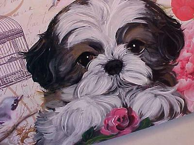 Shih Tzu Puppy Holding A Rose Handpainted Beautiful Box !