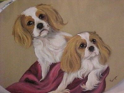 Cavalier King Charles Original Painting Large Oval Stretched Canvas