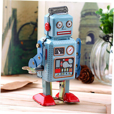 Vintage Mechanical Clockwork Wind Up Metal Walking Robot Tin Toy Kids Gift GO