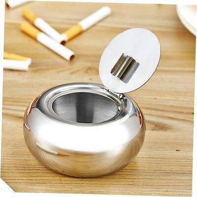 Portable Stainless Steel Cigarette Ashtray Smokers Ash Container Tobacco Tray GO