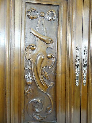 Pair Antique French Renaissance Solid Walnut Carved Wood Door Ribbon Louis XVI • CAD $268.78