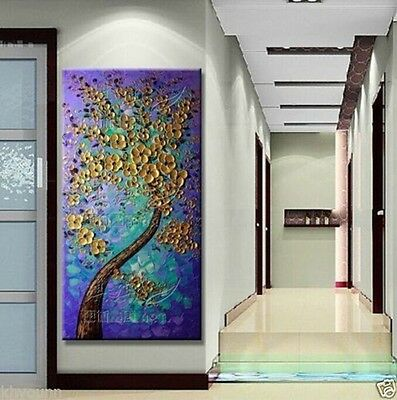 MODERN ABSTRACT HUGE WALL ART OIL PAINTING ON CANVAS-Gold tree (no framed)