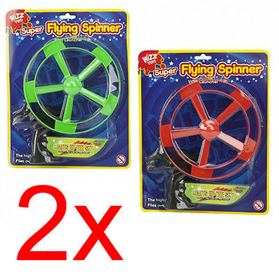2 X Super Flying Spinner With Launcher Outdoor Ufo Disc Spin Fund Kids Xmas Gift