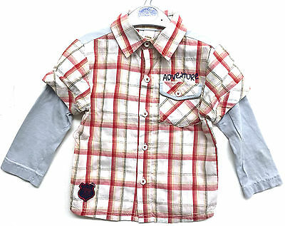 Baby Boys Shirt Red White Checked Long Sleeve Ex Store Shirt Bnwt