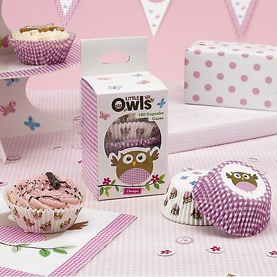 Pack Of 100 Little Owl Cupcake Cases - Pink and White - NEW - Party/Birthday
