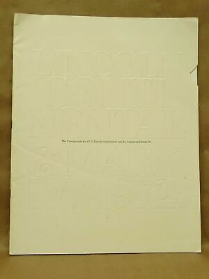 Vintage 1972 Lincoln Continental Mark IV Coupe Sedan Town Car Brochure Book