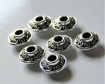 100pcs 6x3mm Metal Alloy Flat Bicone Spacer Beads - Antique Silver