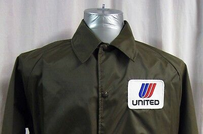 Vintage United Airlines Button Front Ramp Jacket Windbreaker Coat Size Large USA