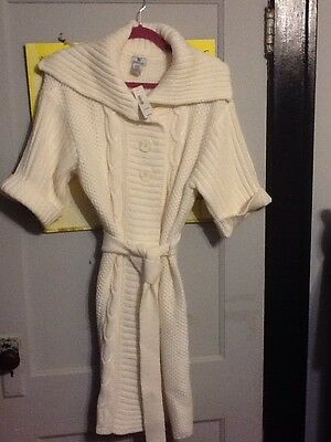 dba67073af6 JcPenney s Worthington Cable Knit Sweater Duster Women s Large Ivory NWT ...