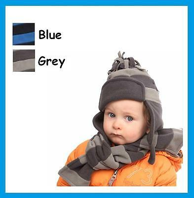 Babies / Toddlers Fleece Hat or Scarf, Blue or Grey - Baby Boy