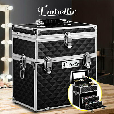 Professional Portable Cosmetics Beauty Case Makeup Bags Box Organiser Mirror