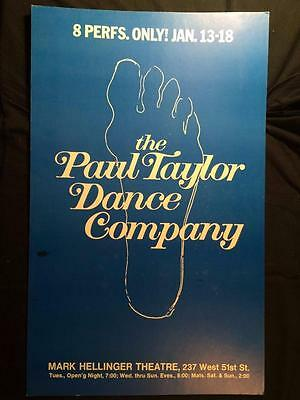 The Paul Taylor Dance Company 14x22 Mark Hellinger Theatre WINDOW CARD Poster 3Q