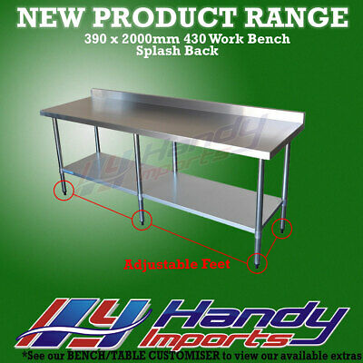 2000 x 390mm STAINLESS STEEL #430 COMMERCIAL FOOD PREP WORK BENCH W/ SPLASH BACK