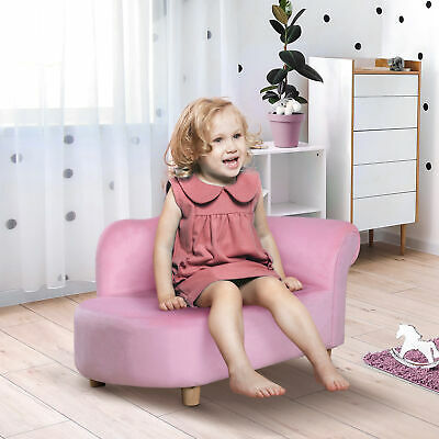 Children Kids Velvet Chaise Longue Lounge Sofa Day Bed Bedroom Couch Seat Chair