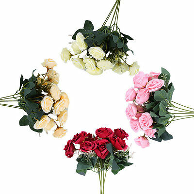 12 Heads Artificial Rose Flower Bouquet For Wedding Party Home Decoration GO