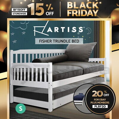 NEW Wooden Sofa Bed Frame FISHER Trundle Daybed Teenager Kid Solid Pine SINGLE