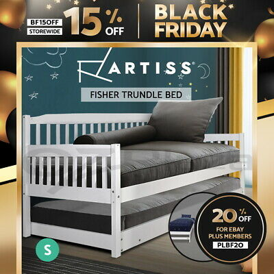 SINGLE Wooden Sofa Bed Frame FISHER Trundle Daybed Kid Timber Lounge White