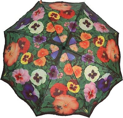 Artbrollies Pansies Manual Open Close Folding Umbrella Compact Floral Art Brolly