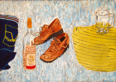 30 - Original Painting - The Day After the Party, Wine, Beer, Shoes Hangover?